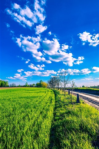 iPhone Wallpaper Countryside, green fields, road, blue sky, clouds