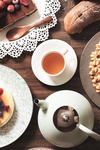 iPhone Wallpaper Delicious food, cake, tea, cookies, berries
