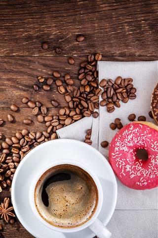 iPhone Обои Пончики и кофейные зерна, чашка