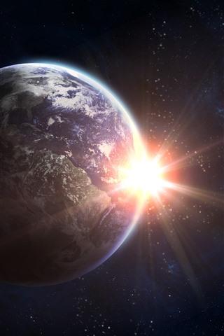 iPhone Обои Земля, солнце, блики, космос
