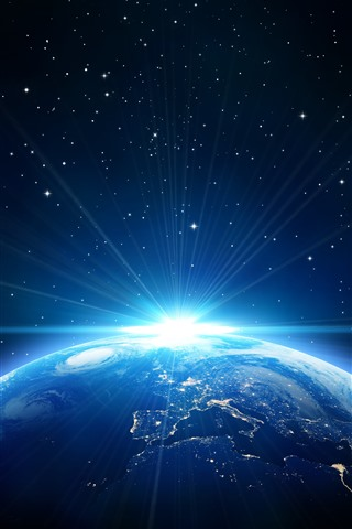 iPhone Fond d'écran Terre, rayons du soleil, style bleu, étoiles, espace