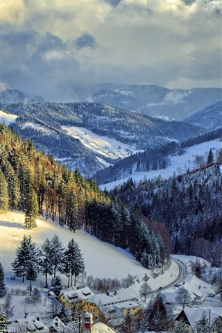 iPhone Wallpaper Germany, winter, snow, trees, mountains, village, road