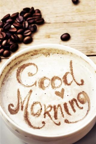 iPhone Hintergrundbilder Guten Morgen, Kaffee, Liebesherz