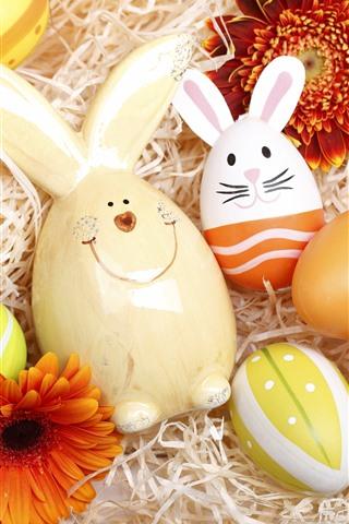iPhone Обои Счастливой Пасхи, Красочные яйца, Кролик, Цветы