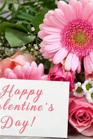 iPhoneの壁紙 幸せなバレンタインデー、ガーベラ、バラ、花、ロマンチック