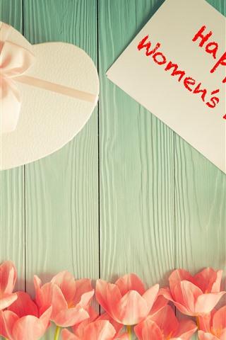 iPhone Hintergrundbilder Glücklicher Frauentag, Tulpen, Liebesherzgeschenk