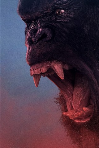 iPhone Wallpaper King Kong: Skull Island, angry, helicopter