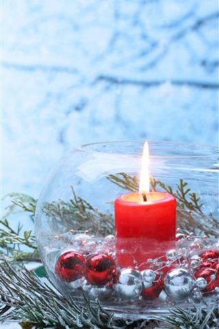 iPhone Wallpaper Merry Christmas, star, candle, flame, snow, glass jar