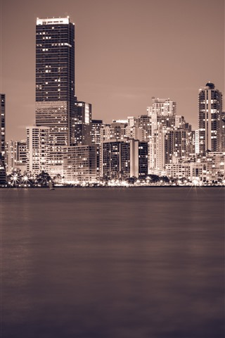 iPhone Wallpaper Miami, Florida, night, city, skyscrapers, river, lights, stone, USA