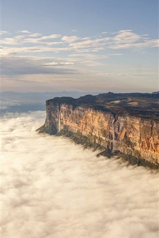 iPhone Wallpaper Mountains, rocks, height, waterfall, clouds