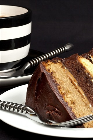 iPhone Обои Один кусочек шоколадный торт, чашка