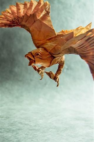 iPhone Обои Бумажный орел, оригами, крылья, творческая картина