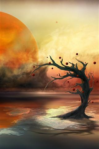 iPhone Обои Планета, озеро, дерево, солнце, творческая картина