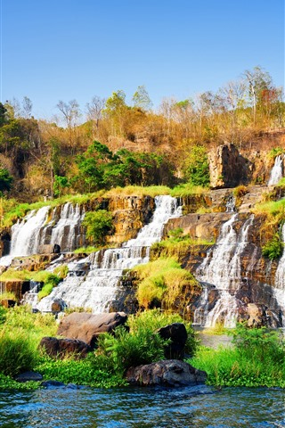 iPhone Wallpaper Pongour waterfall, Vietnam, bushes, trees, water