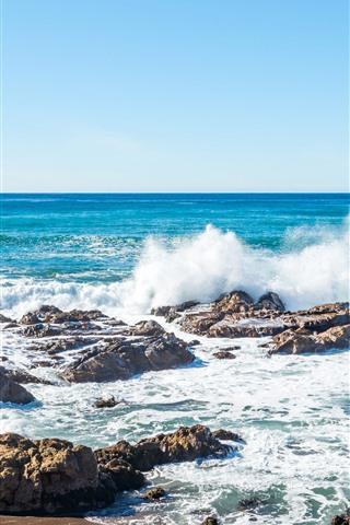 iPhone Обои Море, побережье, всплеск воды, пена, камни