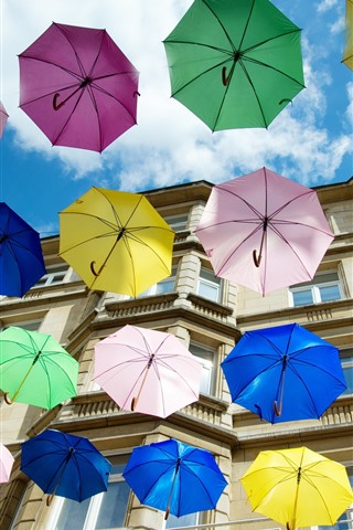 iPhone Wallpaper Some colorful umbrellas, house, city