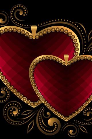 iPhone Fond d'écran Deux coeurs d'amour, fond noir, image créative