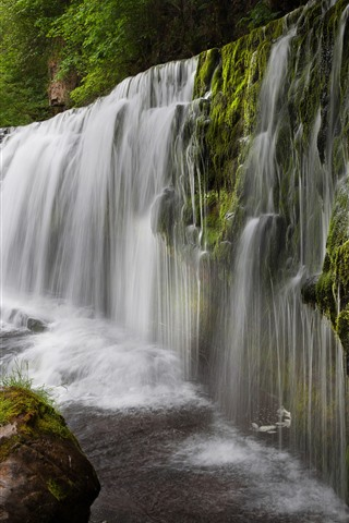 iPhone Wallpaper UK, waterfall, water, stones, trees, moss