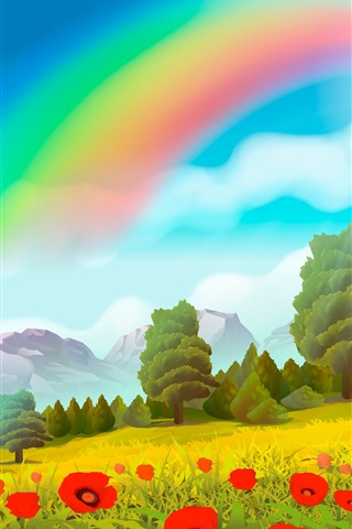 iPhone Обои Векторный дизайн, радуга, деревья, маковые цветы