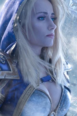 iPhone Wallpaper World of Warcraft, blue eyes girl, blonde, snow