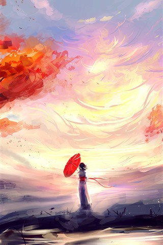 iPhone Wallpaper Anime girl, umbrella, waterfall, red leaves, autumn