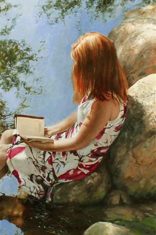 iPhone Обои Художественная живопись, девушка, книга, камни, ручей, вода