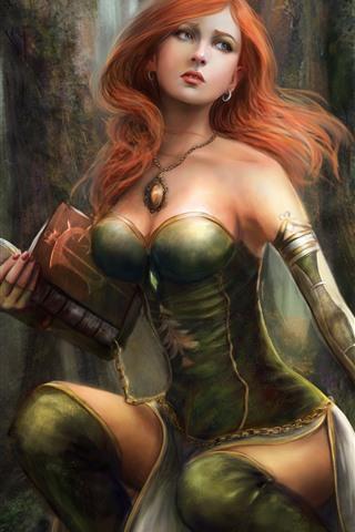 iPhone Обои Красивая фантазия девушка, рыжие волосы, лес, книга