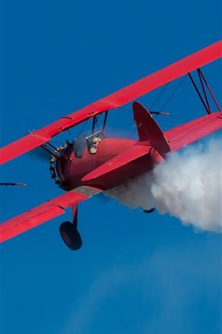 iPhone Wallpaper Boeing red biplane, smoke, sky