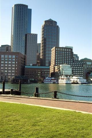 iPhone Wallpaper Boston, Massachusetts, city, river, skyscrapers, USA