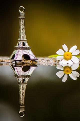 iPhone Wallpaper Eiffel Tower decoration, white flower, water