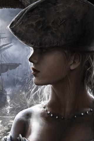 iPhone Обои Девушка, лицо, оплетка, шляпа, корабль, художественная картинка