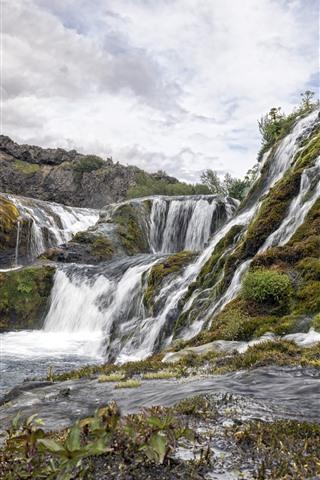 iPhone Wallpaper Iceland, waterfalls, water stream