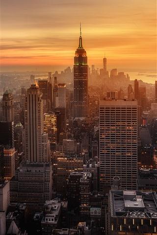 iPhone Wallpaper New York, evening, sunset, skyscrapers, city, USA