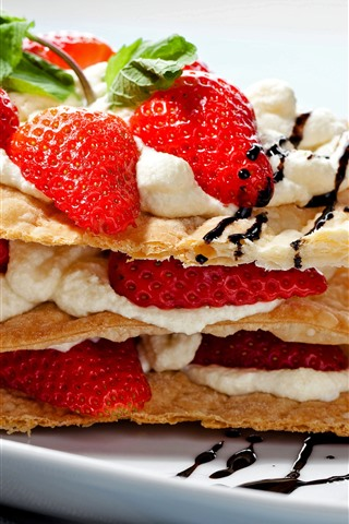 iPhone Wallpaper One slice cake, strawberry, cream, food