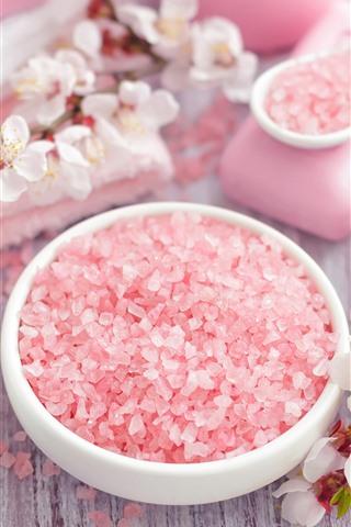 iPhone Wallpaper Pink soap granules, flowers, towel, SPA