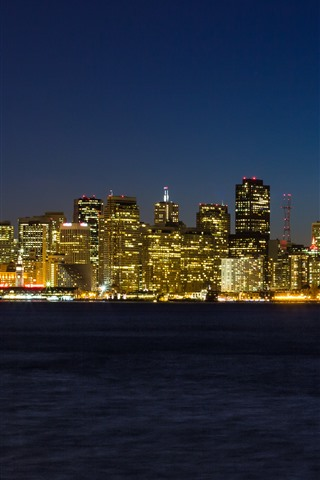 iPhone Wallpaper San Francisco, city, skyscrapers, city, lights, night, sea