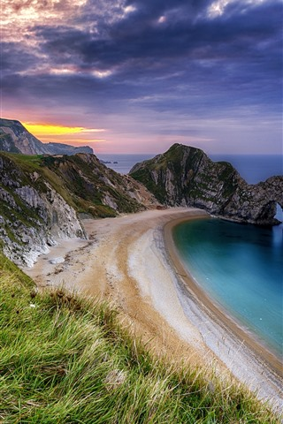 iPhone Wallpaper Sea, beach, arch, grass, clouds, dusk