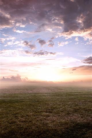 iPhone Wallpaper Sunrise, fog, morning, grass, clouds