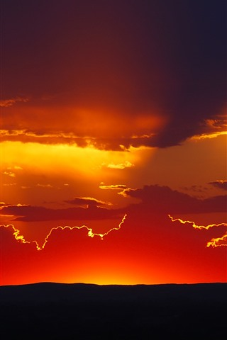 iPhone Wallpaper Sunset, red sky, clouds, silhouette
