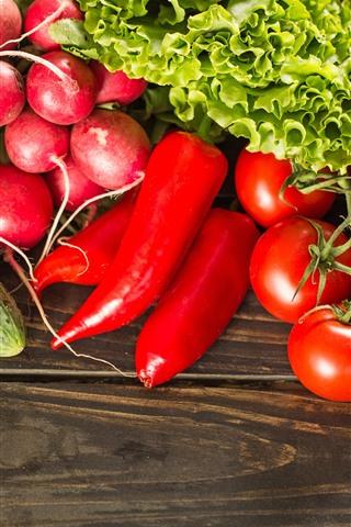 iPhone Wallpaper Tomato, cucumber, carrot, chili, lettuce, vegetables