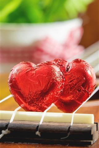 iPhone Hintergrundbilder Zwei Liebes-Herz-Süßigkeiten, Gitarre, romantisch