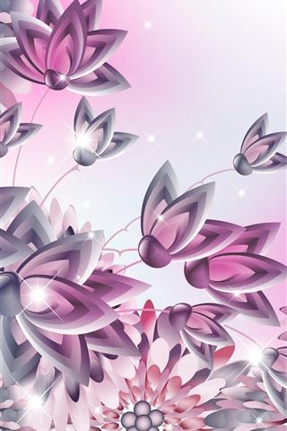 iPhone Wallpaper Vector flowers, shine, creative design