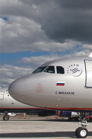 iPhone Papéis de Parede Airbus A321 Airplane de passageiros, aeroporto