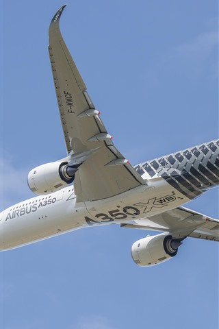 iPhone Wallpaper Airbus A350 plane, flight, sky