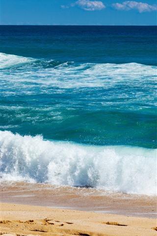 iPhone Wallpaper Beautiful sea, beach, coast, water, foam