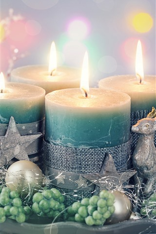 iPhone Обои Свечи, пламя, звезды, олени, украшения, Рождество