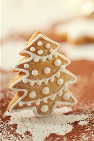iPhone Hintergrundbilder Weihnachten, Lebkuchen, Kekse, Baum, Pulver