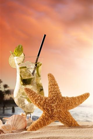iPhone Wallpaper Cocktail, starfish, box, beach, shell, sea, sunset