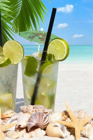 iPhone Wallpaper Cocktail, starfish, seashell, drinks, beach, sea, tropical