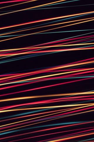 iPhone Papéis de Parede Linhas coloridas, fundo preto, projeto abstrato